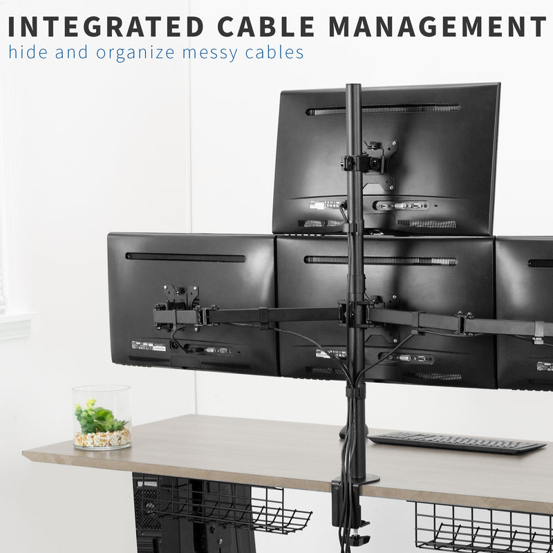 Quad Monitor Desk Mount integrated cable management
