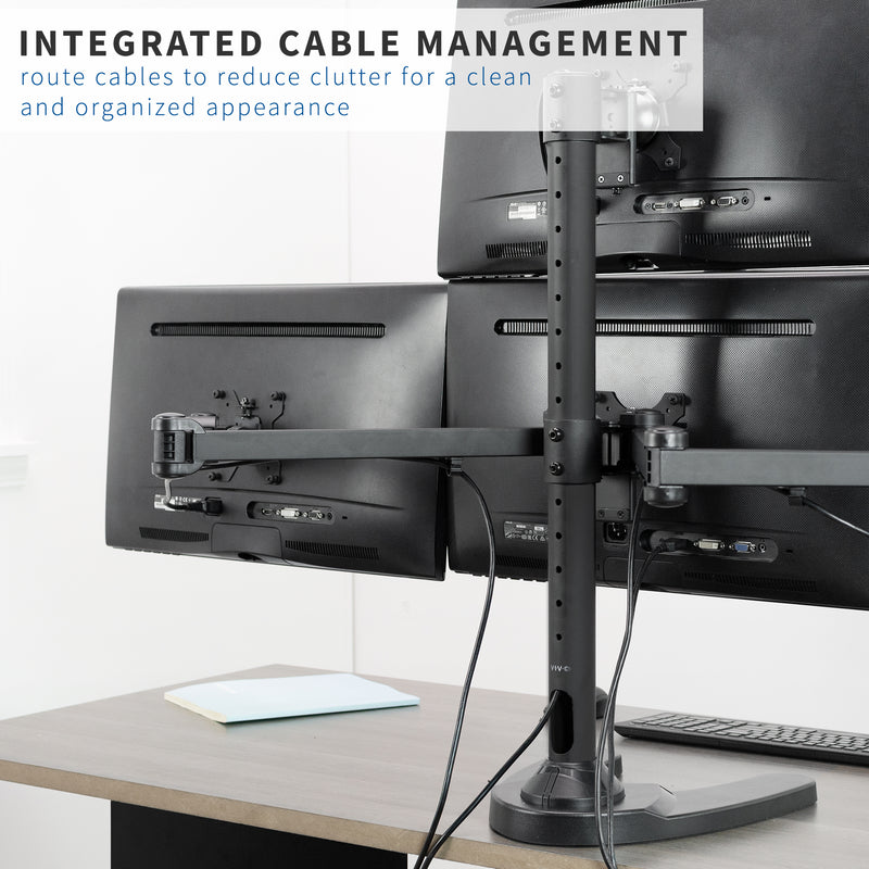 Quad Monitor Desk Stand integrated cable management