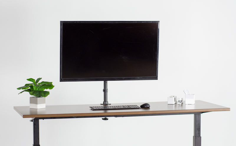 Single Wide Screen TV Desk Mount and monitor