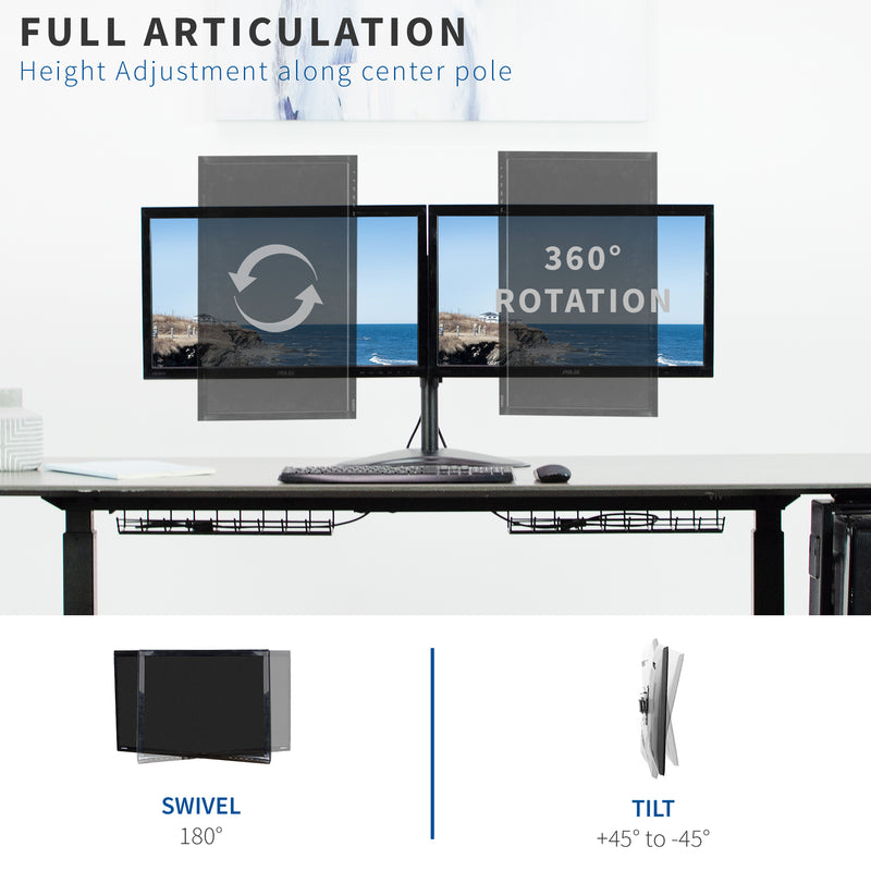 Dual Monitor Desk Stand full articulation