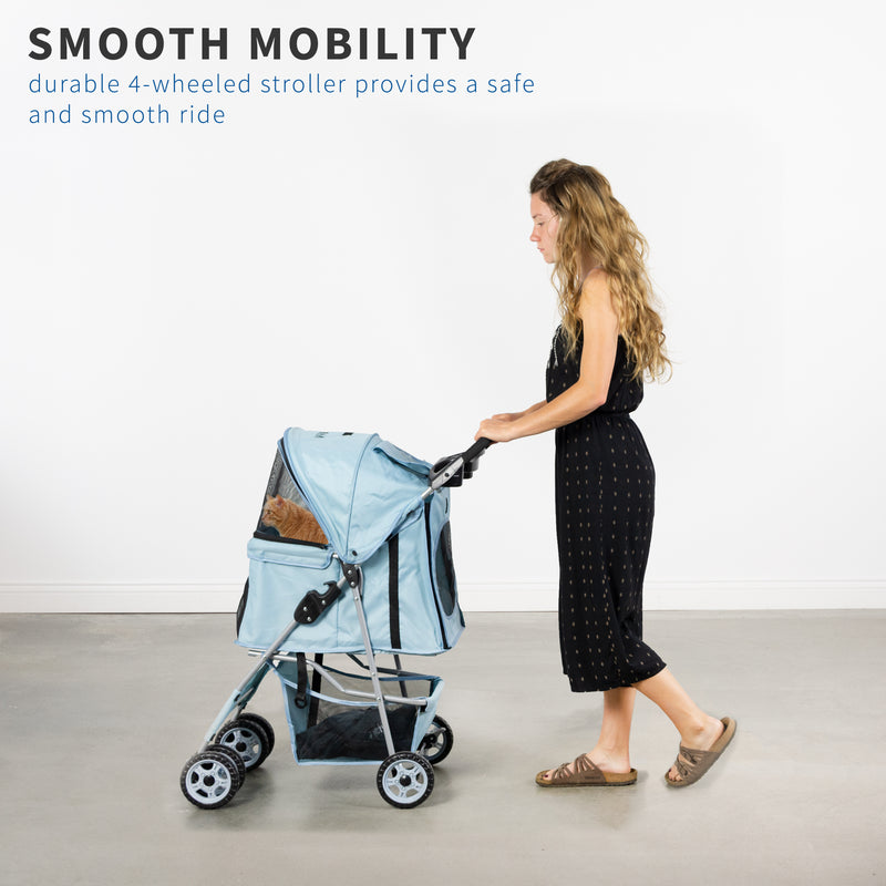 STROLR-V001B <br><br>Blue Four Wheel Pet Stroller