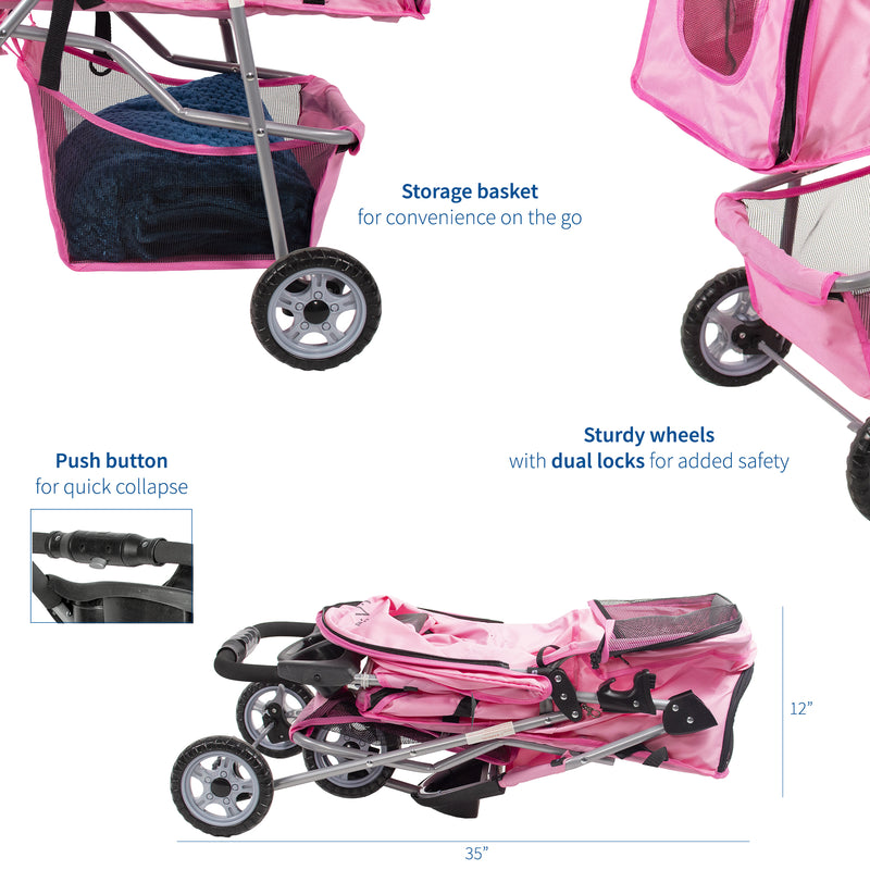 Pink Three Wheel Pet Stroller