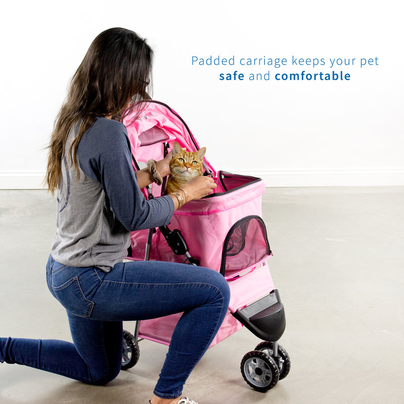 girl pushing cat Pink Three Wheel Pet Stroller