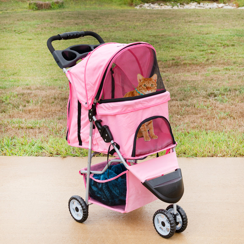 cat Pink Three Wheel Pet Stroller