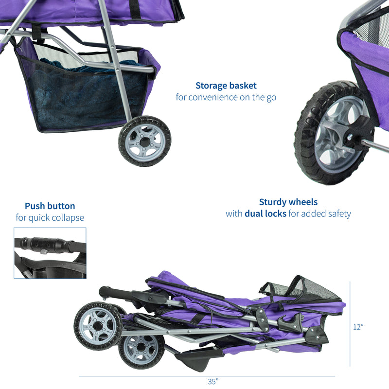 STROLR-V003P <br><br>Purple Three Wheel Pet Stroller