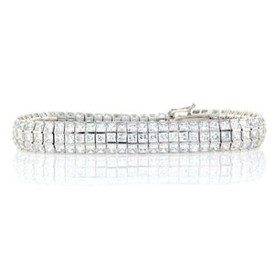 3 Row Silver Square Tennis Bracelet