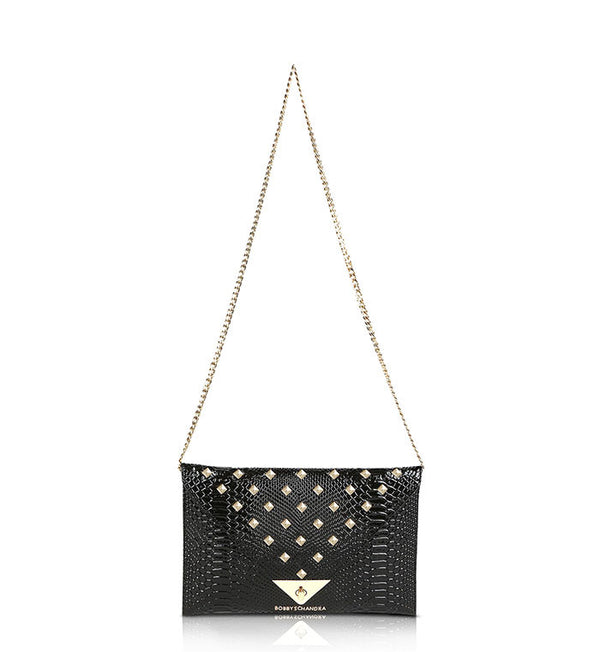 Black-and-gold-leather-studded-clutch-purse-bag