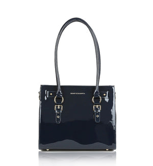 Blue-navy-patent-leather-designer-tote-with-gold-chain-bag.