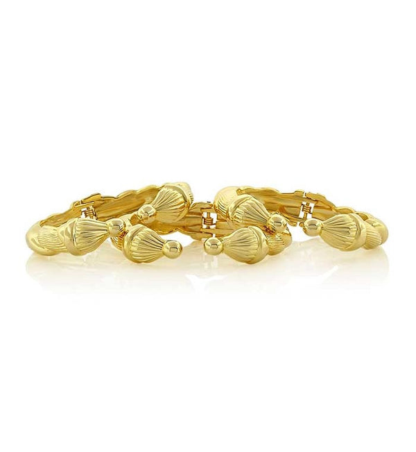 Braided Point Gold Cuff Bracelet 6piece pack