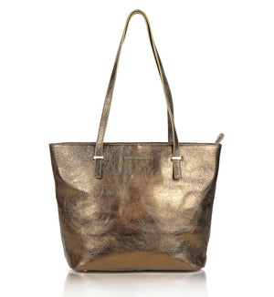 Bronze-brown-leather-designer-tote-bag