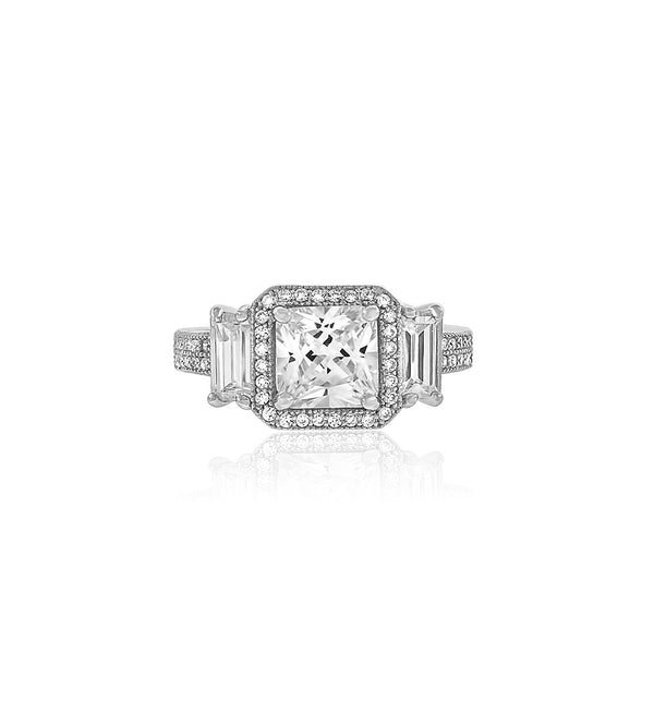 Cushion cut cz diamond silver ring