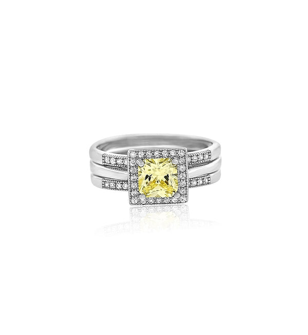 Cushion cut yellow diamond cz silver ring 2