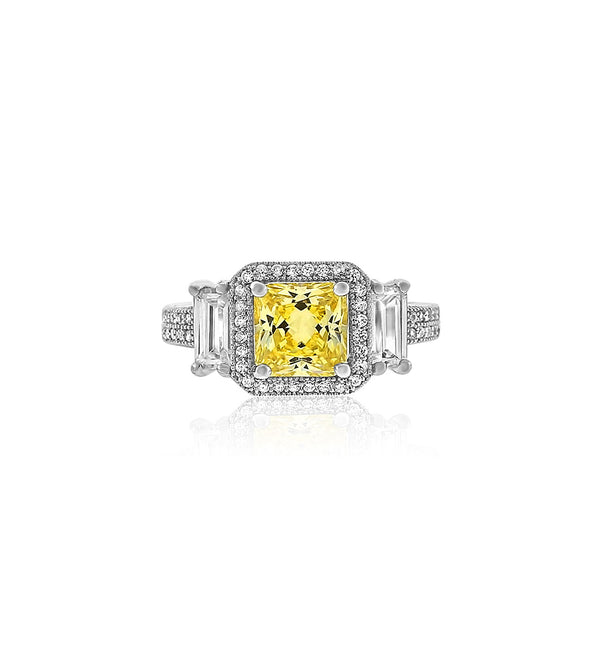 Cushion cut yellow diamond cz silver ring