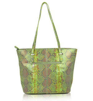 Green Brown Leather Designer Tote Bag