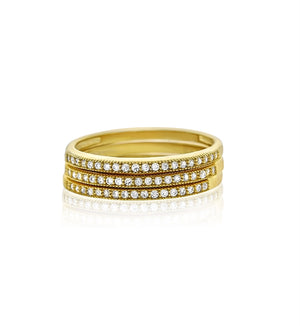Micropavé gold plated silver cz stackable rings