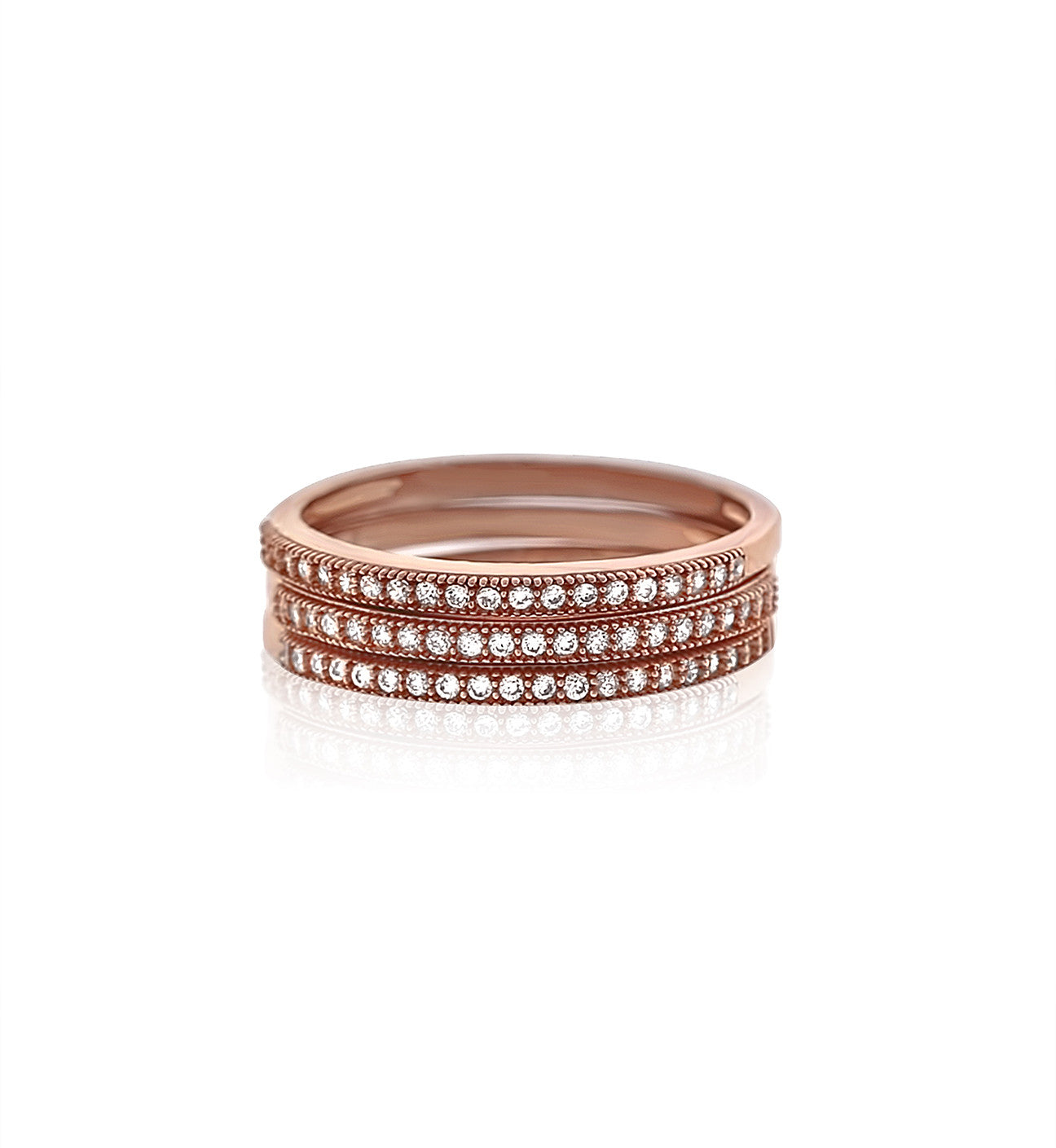 Micropavé rose gold plated silver cz stackable rings - Schandra
