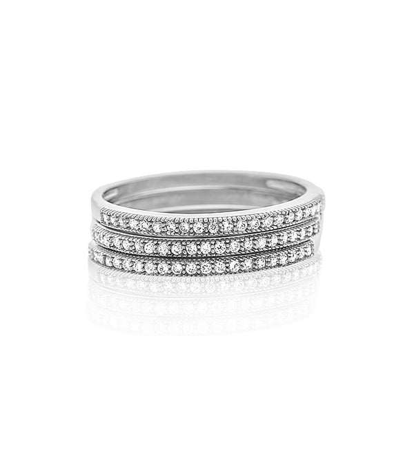 Micropavé silver cz stackable rings