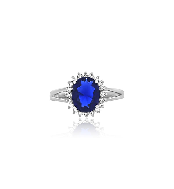 Oval cz sapphire silver ring