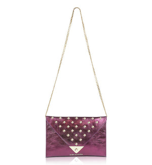 Purple and Gold Leather Studded Clutch Purse Bag
