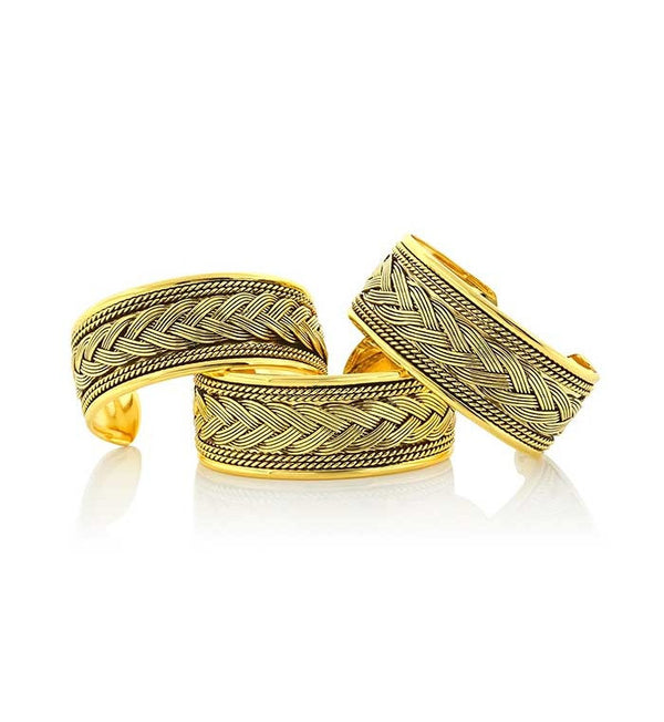Wide-Braid-Gold Bracelet  6 piece pack