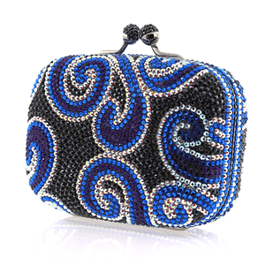 Black and Blue Swarovski Crystal Evening Clutch