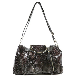 Black and Brown Patent Leather Snake Print Bag