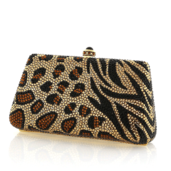 Black and Gold Animal Print Swarovski Crystal Evening Clutch