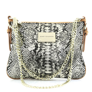 Designer Gold and Black Python Print Leather Cross body Handbag