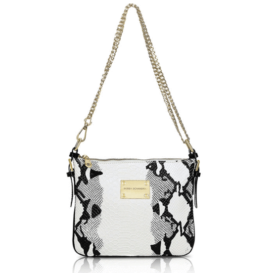 Black and White Leather Designer Cross-body messenger Handbag