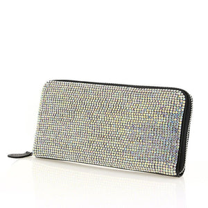 Black Leather AB Swarovski Crystal Evening Zipper Clutch