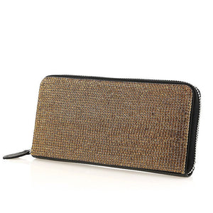 Black Leather Amber Swarovski Crystal Evening Clutch