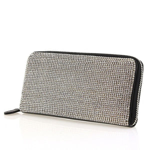 Black Leather Clear Swarovski Crystal Evening Zipper Clutch