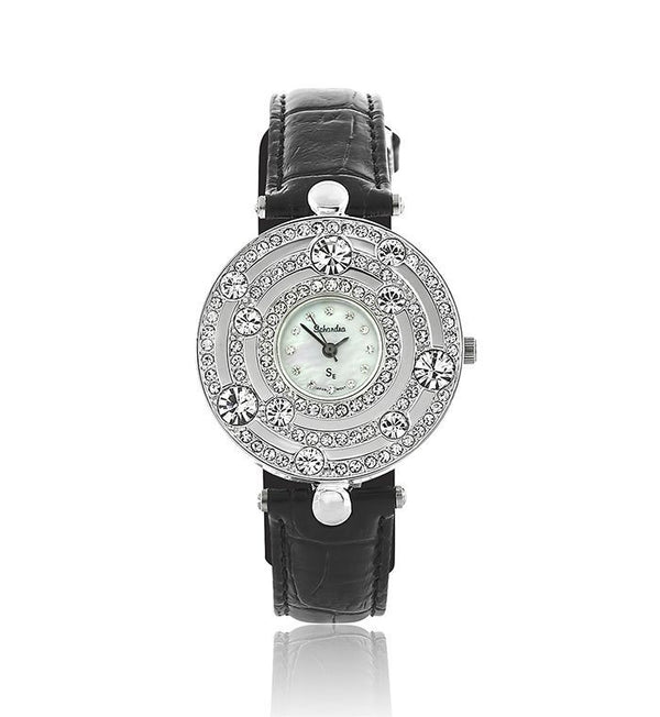 Black Leather Galaxy Swarovski Crystal Pearl Face Designer Watch