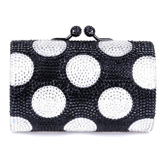 Black and white Polka Dot Swarovski Crystal Clutch