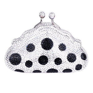 Black Polka Dot Swarovski Crystal Clutch