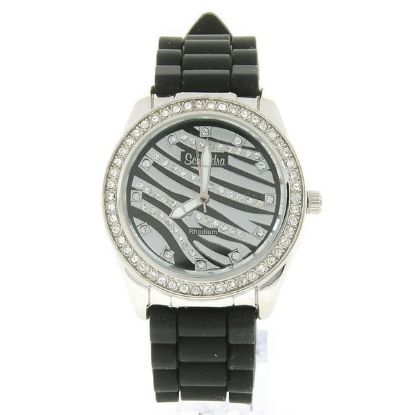 Black Silver Zebra Fashion Watch
