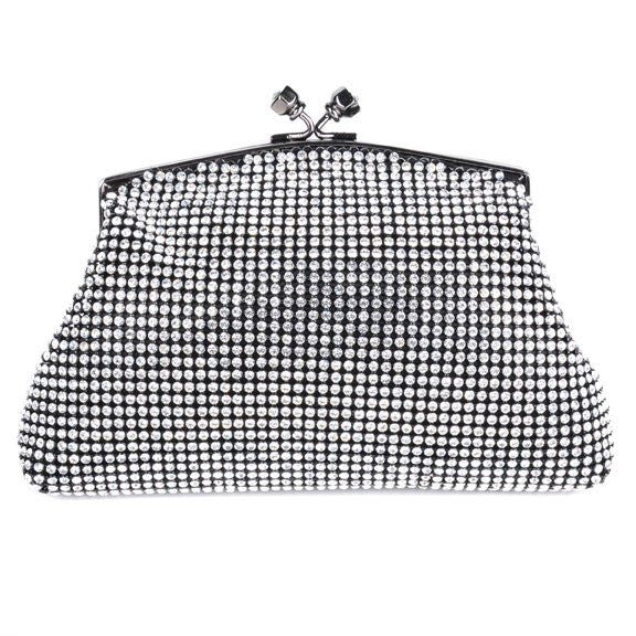 Black Soft Mesh Swarovski Crystal Clutch