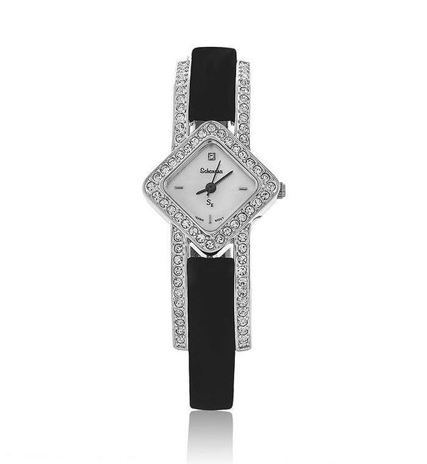 Black Suede Diamond Shaped Swarovski Crystal Pearl Face Watch