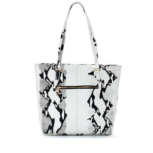 White and Black Leather Snake Print Tote Bag