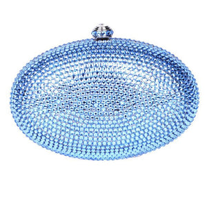 Blue Oval Swarovski Crystal Clutch
