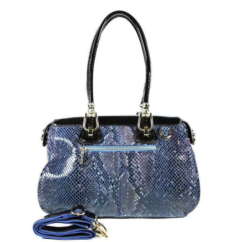 9ff69eef4 Blue Patent Leather Snake Print Satchel Tote
