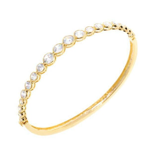 Brilliant Round Cut Gold CZ Crystal Bangle Bracelet
