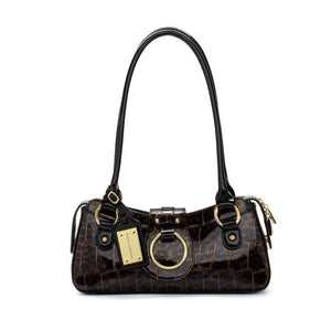 Brown and Black Leopard Patent Leather Designer Handbag