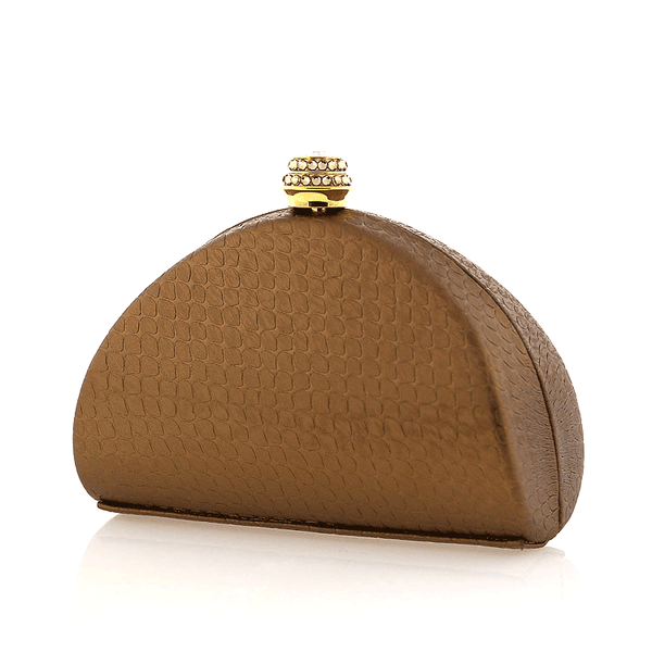 Brown Swarovski Crystal Evening Clutch