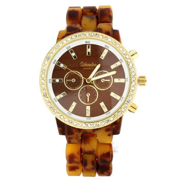 tortoise brown crystal watch