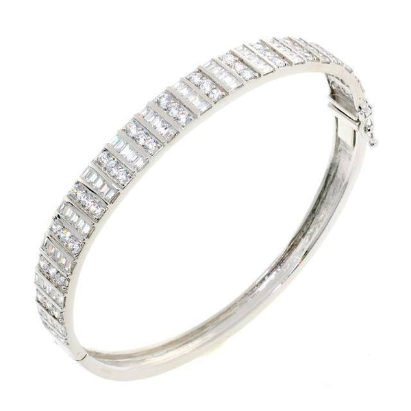 Exquisite Square and Round Cut CZ Crystal Bangle Bracelet
