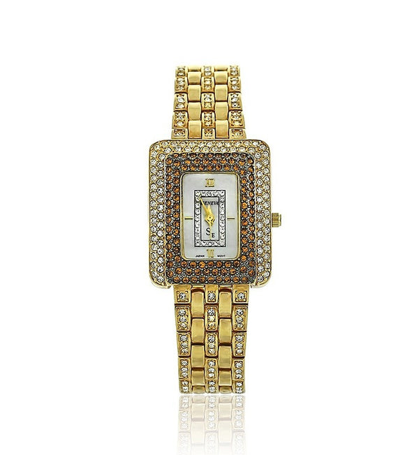 Gold and Bronze Swarovski Crystal Pearl Face Watch