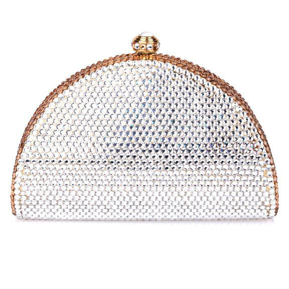 Gold and Clear Swarovski Crystal Clutch