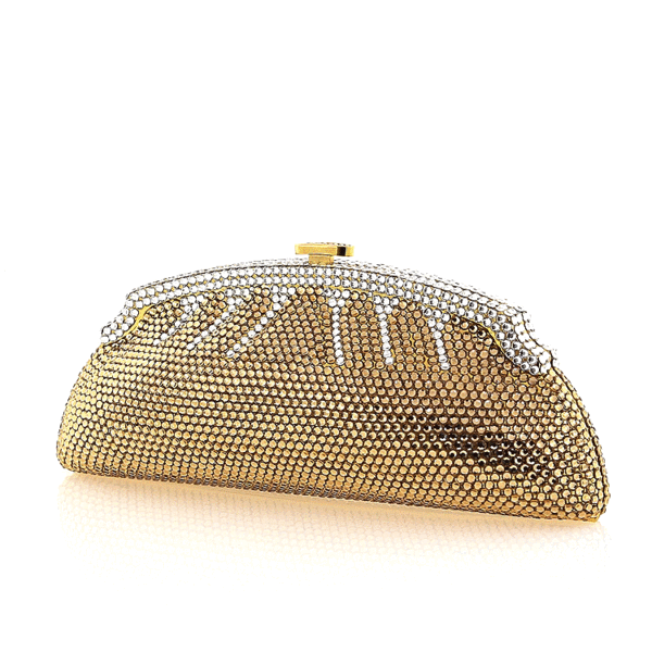 Gold and Clear Swarovski Crystal Evening Clutch