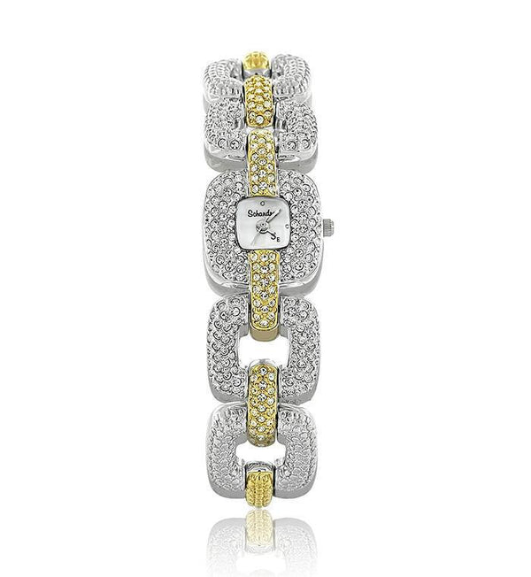 Gold and Silver Two Toned Linked Small Swarovski Crystal Watch